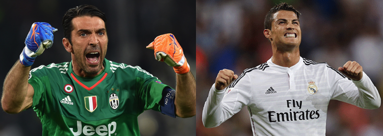 Gianluigi Buffon of Juventus and Cristiano Ronaldo of Real Madrid
